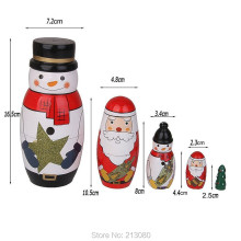 1Set Xmas Matryoshka Doll Snowman Santa Claus Carol Joy Gift Nesting Dolls Russian Toy Craft Handmade Nutcracker Home Decoration(China)