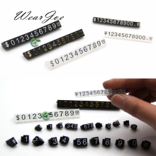 Wholesale 5pcs/lot Mini Acrylic Combined Price Tag Euro HK US Dollar Adjustable Number Pricing Label Jewellery Store Accessories(China)