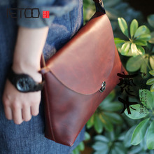AETOO Wine red female bag retro postman leather leather shoulder diagonal package college wind hand first layer leather flip cov