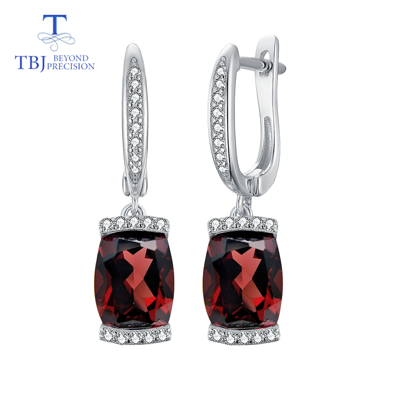 TBJ,natural red garnet earring gemstone in 925 sterling silver fine jewelry simple design for woman best Valentine gift with box