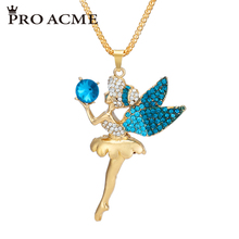 Pro Acme Fashion Beautiful Angel Girl Bohemian Necklaces & Pendants Women Crystal Long Pendant Necklace Charm Jewelry PN0070(China)