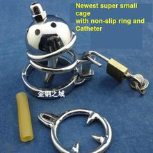 Buy 2018 Latest Design Super Small Male Stainless Steel Cock Penis Cage Chastity Belt Device Wit Catheter Non-slip Ring BDSM Sex Toy