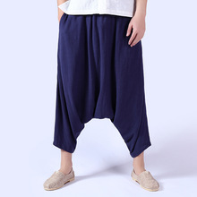 2017 Promotion Rushed Casual Linen Mid Nine Haren Men Draping Loose Pants Off India Thailand Folk Style Crotch Men's Skirt
