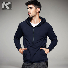 KUEGOU Autumn Mens Casual Hoodies Blue Color Pockets Brand Clothing For Man's Slim Hooded Zipper Pullover Male Tracksuits 3049(China)