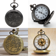 New Fashion Black/Bronze Doctor Who White/Gold Dial Quartz Pocket Watch Analog Pendant Necklace Men Women Watch Gift