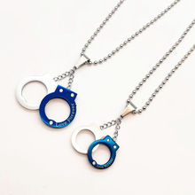 Hip Punk Blur Plated Pave CZ Stone Titanium Stainless Steel Love Forever Handcuffs Pendants Necklaces for Lovers Jewelry