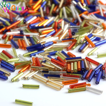 OlingArt new Mixed Color 2900pcs Silver-Lined Glass Bugle Beads 9x1.8mm Tube glass seed beads Wholesale for diy Jewelry Making