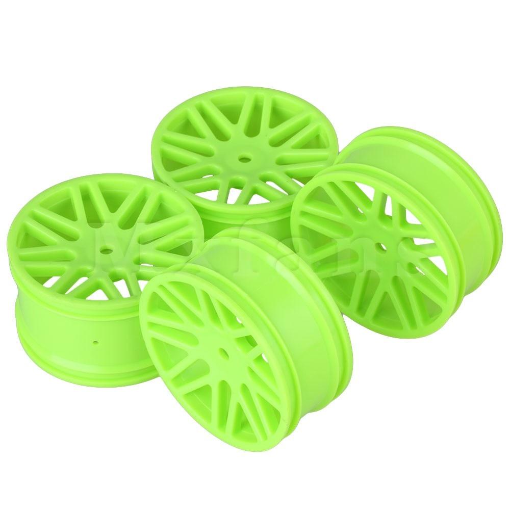 Mxfans 4pcs Front Rear Wheel Rim for Off Road Car Plastic Green 60mm Dia RC 1:10<br><br>Aliexpress