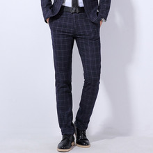 New High Quality Wool Plaid Pants Formal Wedding Men Suit Pants Fashion Casual Brand Straight Dress Trousers(China)