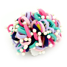 100pcs/Lot  3CM Child Baby Kids Simulated Pearl  Bead Ponytail Holders Hair Accessories For Girl Rubber Band Tie Gum Accessory