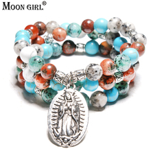 Buy MOON GIRL Virgin Mary Multilayer Yoga Mala Stone Beads Women Wrist Bracelets Meditation Chakra Men's Bracelets Drop for $5.95 in AliExpress store