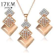 17KM Geometric Jewelry Set For Woman Gold Color Long Necklace Pendant Crystal Earrings Wedding Beads Fashion Jewelry Gift(China)