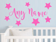Personalized Stars Any Name Vinyl Wall Sticker Art Decal Kids Bedroom Wall stickers for kids room Living room Vinyl Mural D615(China)