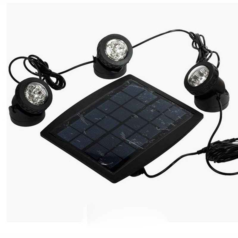 10sets/lot Solar Powered 3 Submersible led Lamps 18 LEDS RGB Color Changing floodlight for outdoor jardin swimming pool <br>