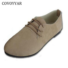 COVOYYAR 2017 Solid Lace Up Women Shoes Autumn Spring Pointed Toe Women Flats Ladies Footwear Shoes Big Sizes 35-42 WFS729