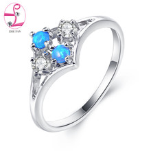 ZHE FAN Simple Round White Blue Pink Small Fire Opal Ring Cubic Zircon 4 Claws Rings Cute Women Girlfriend Gift Size 6 7 8(China)