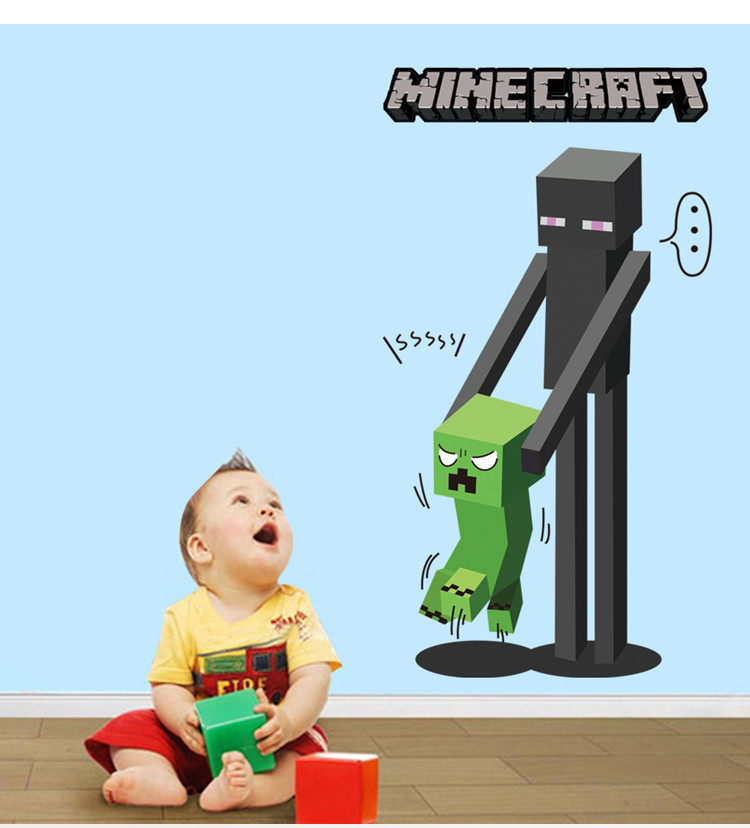 HTB1Lh1VcUMgYeJjSZFGq6xsMXXal - Newest Minecraft Wall Stickers 3D Wallpapers Kids Room Decals Minecraft Steve Home Decoration Popular Games Home Free Shipping
