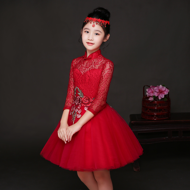 Baby Girl Kid Evening Party Dresses For Girl Wedding Princess Clothing 2018New Solid Color Bow Moderator Dress Children Clothes<br>