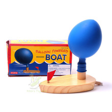 Balloon Powered Wooden Boat Wood Boat Toy Air Power Boat Toy DIY Children Boat Toy Summer Toy
