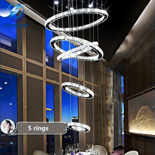 5 circle ring Modern minimalist penthouse floor living room led Ceiling Lights creative villa long circular staircase lights(China)