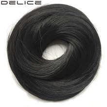 [DELICE] 20pcs/lot Women's Synthetic Straight Scrunchie With Rubber Band Wrap Hair Ring, 30g/piece(China)