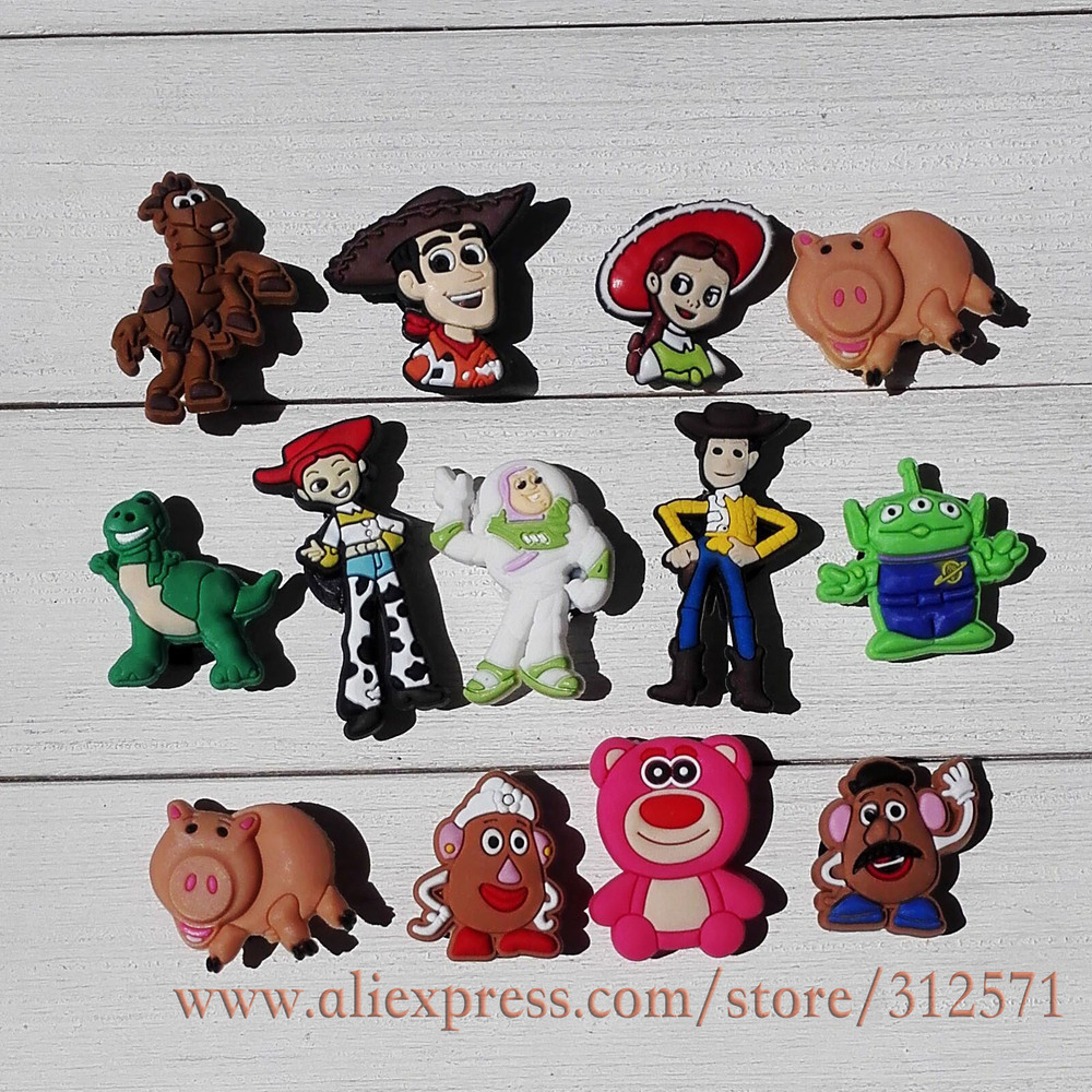Guarantee 100% 12pcs/lot Toy Story shoe decoration/shoe charms/shoe accessories  for jibz clog wristbands bracelets kids gift<br><br>Aliexpress