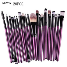 GUJHUI 20Pcs Rose gold Makeup Brushes Set Pro Powder Blush Foundation Eyeshadow Eyeliner Lip Cosmetic Beauty Make up Brush Tool(China)