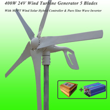 Great Discount 5 Blades 400W 24V Wind Turbine Generator With MPPT Wind Solar Hybrid Controller & 1KW Pure Sine Wave Inverter