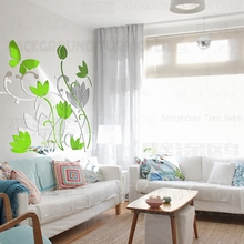 New design DIY bicolor 3d butterfly water lily lotus flower wall sticker for living room dining room decoration of home R184(China)