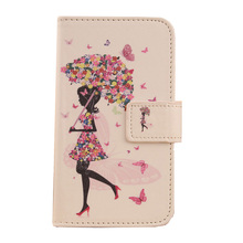 LINGWUZHE Cute Mobile Phone PU Leather Case With Card Slot Cover For Medion Life E5006 MD 60227 5''