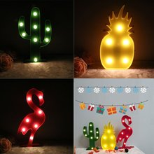 3D Flamingo LED Party Decoration Night LIght and Pineapple Cactus Night Lamp Marquee LED Letter Light for Holiday Kid's Gift