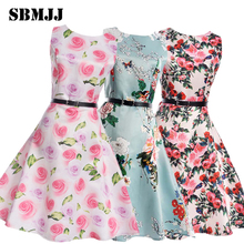Flower Girl Dresses For Kids New 2017 Girls Summer Dress For Party And Wedding Teenagers Sundress Fancy Clothes Princess Cotton