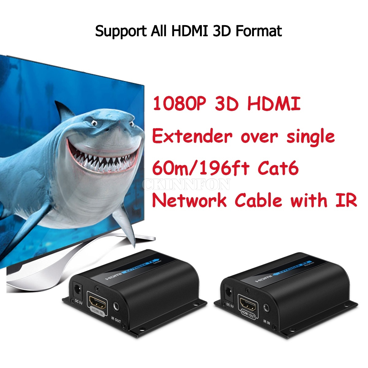 DHL 5 Sets LKV372A 1080P 3D HDMI Extender Over Single 60m/196ft Cat6 Network Cable With IR