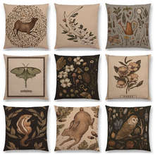 Classical Things Gems Minerals Floral Elk Nature Walks Garden Flowers Leaf Deer Bird Moth Owl Cushion Cover Sofa Pillow Case(China)