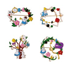 Animated cartoon young girl tong qu Alice elegant flower rabbit circular clothing accessories brooch