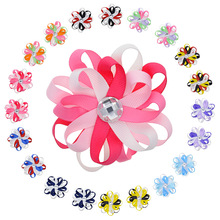 "20PCS 3.2"" Kids Multi-Color Flowers Lined Hair Clips For Teens Girls Loopy Puff Ribbon Hair Bow With Pearl Flower Hair Barrette(China)"