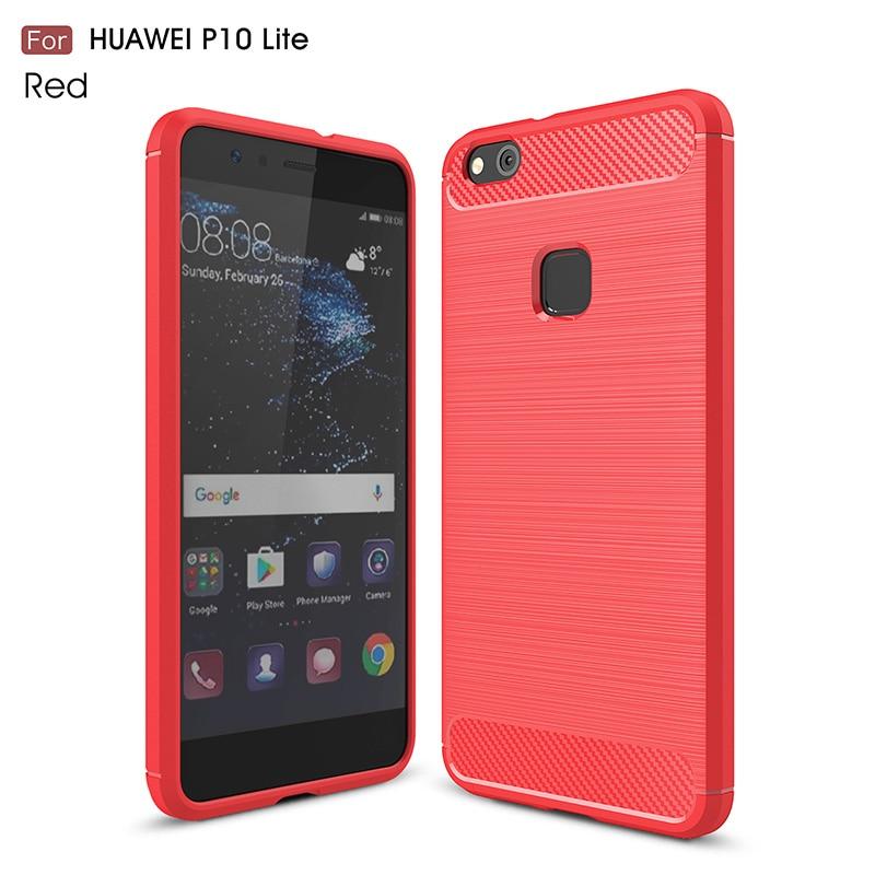 carbon fiber brushed silicone case huawei P10 Lite (17)