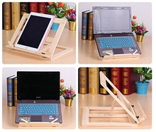 Wood bookstand laptop iPad book stand holder Document stand holder Reading stand with 4 Adjustable Positions(China)
