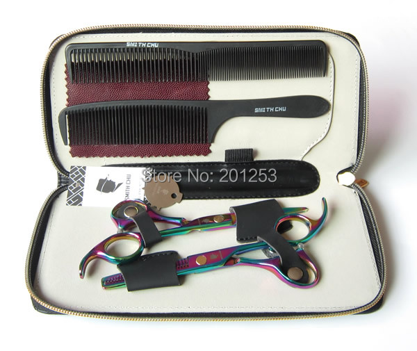 Pretty Rainbow Cutting Scissors and Thinning Scissors Kits,Hair Scissors Kit for Human Hair ,5.5INCH,1set LZS0057(China (Mainland))