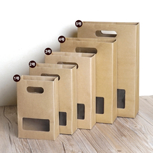 35.2*22.8*9.7cm Kraft Paper Bag With Window Biscuits Paper Bags Food Bags With Handle 100pcs/lot Free shipping(China)