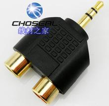 Free shipping  gold plating headset connector  3.5mm  turn to two RCA  audio plug connector audio