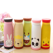 500ml Cartoon Water Bottle Kids Stainless Steel Bottles Outdoor Children Insulated Tumbler Travel Animals Pattern Bottle Tools(China)