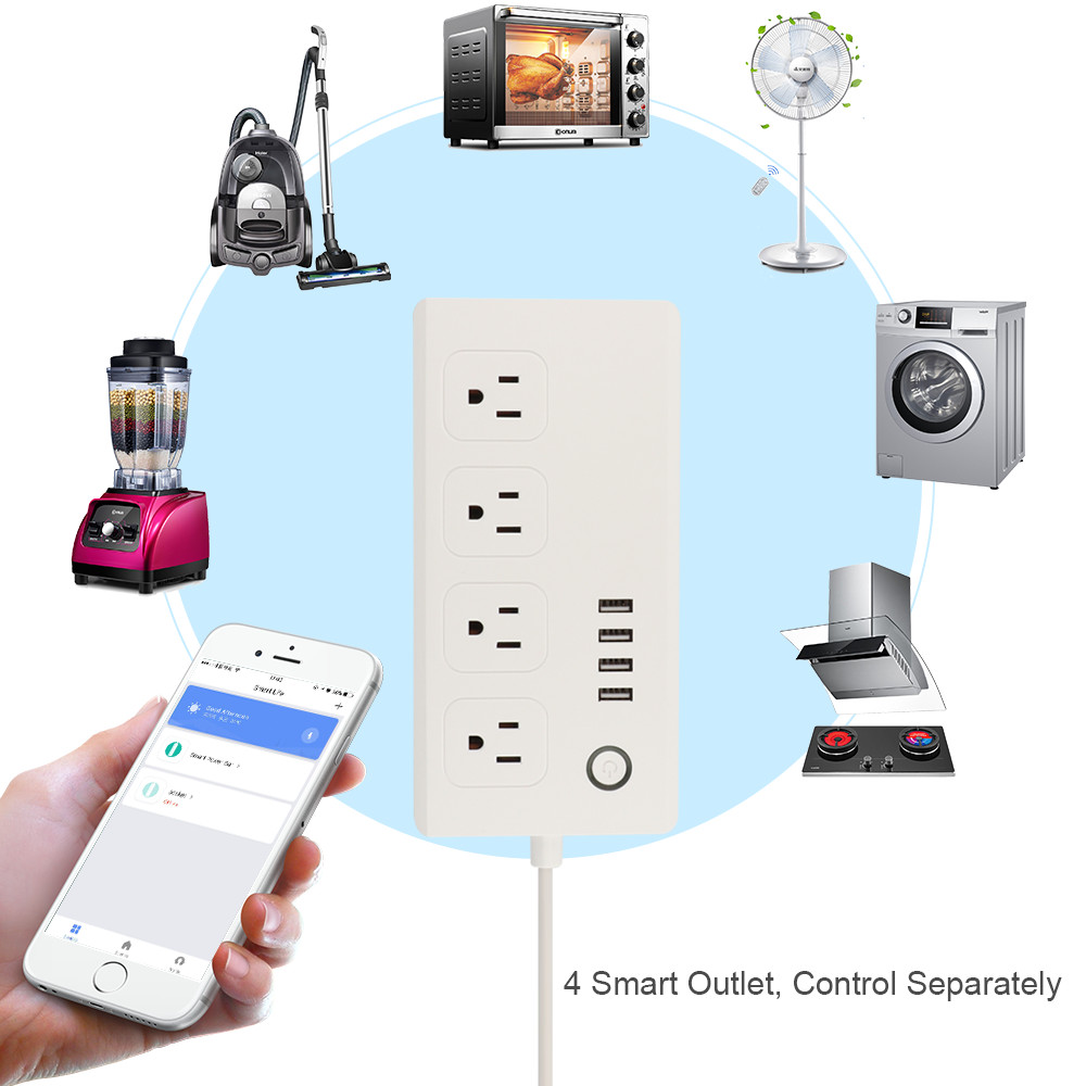 US WiFi Smart Socket Strip Surge Protector 4 Outlet 4 USB 5 Foot Cord Remote Control Switch Power Plug Smart Home Automation
