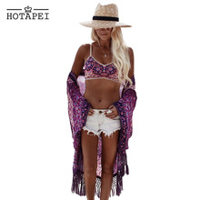Hotapei Chiffon Beach Cover Up 2017 women summer Vibe Purplish Floral Swimwear Beachwear Bikini Wear Cover Ups hot sale LC42125