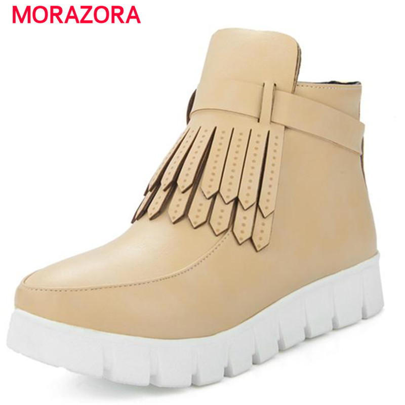 MORAZORA 2017 Large size women shoes flat platform boots in autumn ankle boots side zipper tassel solid college wind<br><br>Aliexpress