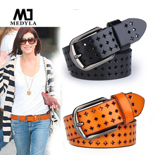 MEDYLA Adult Belts Free Shipping Hot Sale Hk Cutout Strap Female Genuine Leather Cowhide Belt Elastic Hollow Out belts(China)