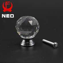 NED 20-40mm Crystal Ball Design Clear Crystal Glass Knobs Cupboard Drawer Pull Kitchen Cabinet Wardrobe Handles Hardware