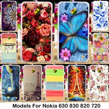 Silicone PC Cases for  Nokia Lumia 630 Dual SIM RM-978 820 N820 878 830 N830 720 N720 N720T Rose Peony Flower Background Cover