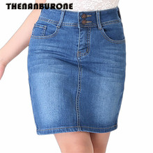 THENANBURONE New Casual Long Jean Skirt 2017 Summer Fashion Denim Skirt Ladies Pockets Hip Cowgirl Skirts Plus Size 4XL 5XL 6XL(China)