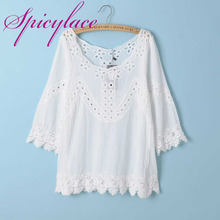 Vintage O Neck Sunflower Crochet Lace casual loose Patchwork 3/4 Sleeve Hollow Out Blouses Tops(China)